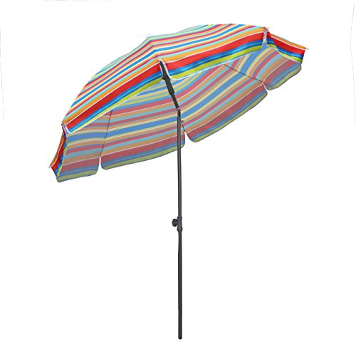 Sekey® Sonnenschirm 200 cm Marktschirm Gartenschirm Terrassenschirm Rote Streifen Rund Sonnenschutz UV25+