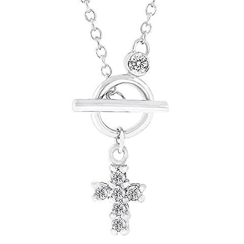 rhodiniert Kette runde klare Cubic Zirkonia in einer Kreuz Design