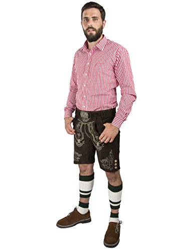 Herren Lederhose Wiesnjäger mit Trachtengürtel - Herren Trachtenlederhose Oktoberfest mit Gürtel - Trachtenhose kurz (46, dunkelbraun) - 3