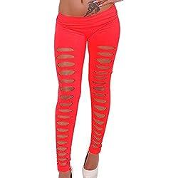 Gladiolus Pantalones Ajustados Tramo Delgado Pantalones Lápiz Skinny Rotos Pantalones Leggins Rojo Talla única