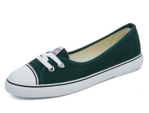 SHFANG Lady Shoes Bocca poco profonda Set piede Scarpe di tela Movimento confortevole Tempo libero Studenti confortevoli Quattro colori Green