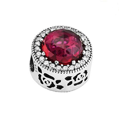 Cooltaste spring europeo cristallo rosso rosa radiante da belle bead diy adatto per originale pandora charm in argento 925bracciali moda gioielli
