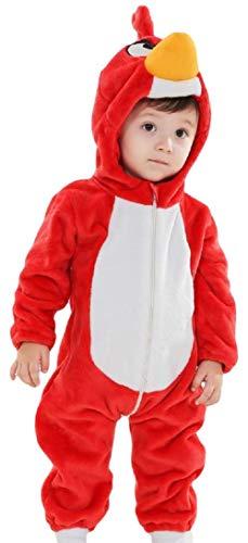 Kinder Jungen Mädchen Baby Rot Vogel Plüsch Velours mit Kapuze Schneeanzug Kostüm Kleid Outfit - Rot, 9-12 months (80cms)