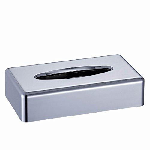 CROWNSTARQI Tissue Box Cover Holder Kleenex Napkin Holder Bathroom Organizer Stand (silver 2pcs) …
