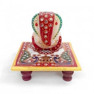 "Chave India Marble Ganesh Chaturthi Special Ganesh / Ganesh Ji / Ganpati with Chowki and beautiful Rajasthani Meenakari Painting on it (2.5"" Ganesha & 4"" Chowki)  available at amazon for Rs.109"