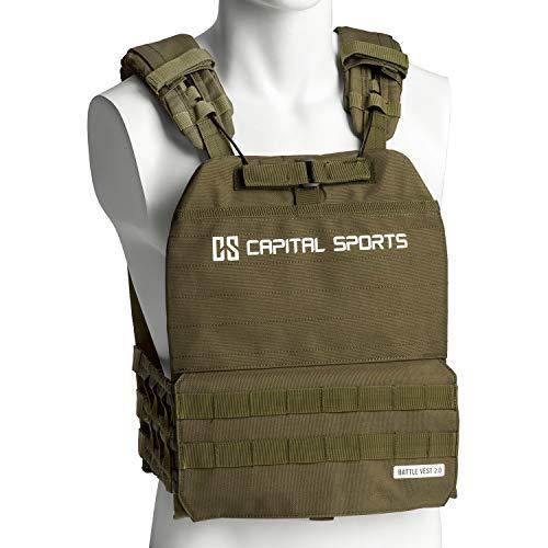 Capital Sports Battlevest 2.0 Gewichtsweste, inklusive 2 Gewichtsplatten: 2X 8.75 lbs, hoher optimale Gewichtsverteilung durch Dicke Polsterung an Schultern, olivgrün