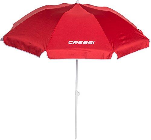 Cressi Ombrello da Spiaggia con Custodia, Facile Trasporto e Montaggio, Rosso, Taglia Unica