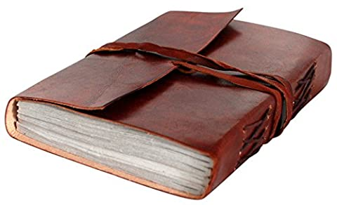 RUSTIC TOWN Handmade Vintage Antique Look Genuine Leather Bound Journal Diary Notebook Travel Book with Blank Unlined Pages to Write for Men Women Gift for Him Her