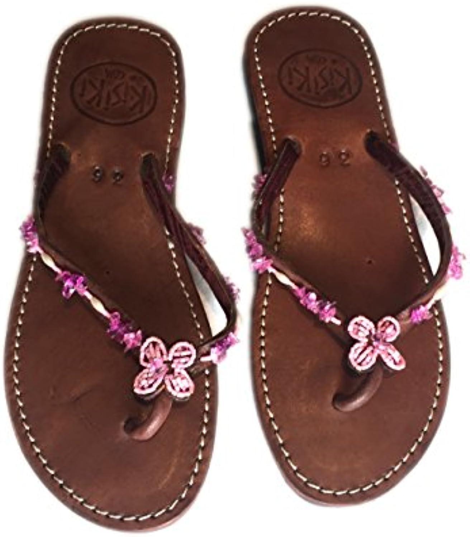 KISIKI Handmade Beaded Leather Flip Flops from Kenya -Pink -Pink -Pink Gems aa79aa