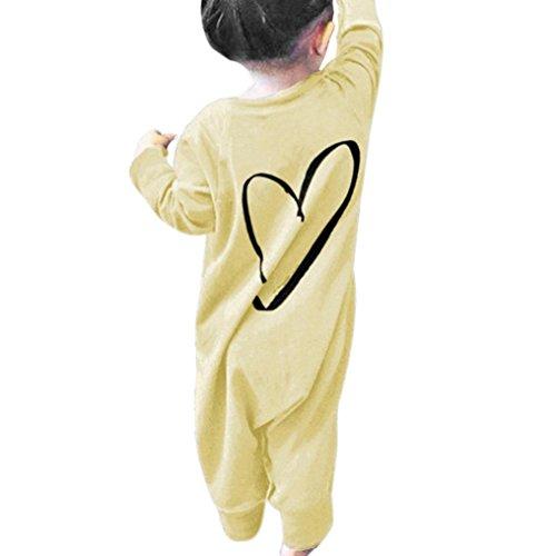 Produktbild Overdose Neugeborene Kinder Baby Jungen Mädchen Druck Strampler Overall Jumpsuit Outfits Romper Kleidung (0-6 Monate, A-Yellow)
