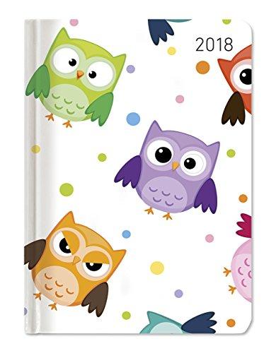 """Weekly Agenda ladytimer 2018""""Funny owls"""" 10.7x 15.2cm"""