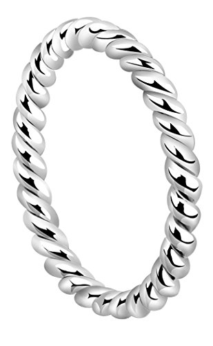 Nenalina Damen Ring Silberring Kordelring mit polierter Oberfläche, handgearbeitet aus 925 Sterling Silber, 313091-000 Gr.58