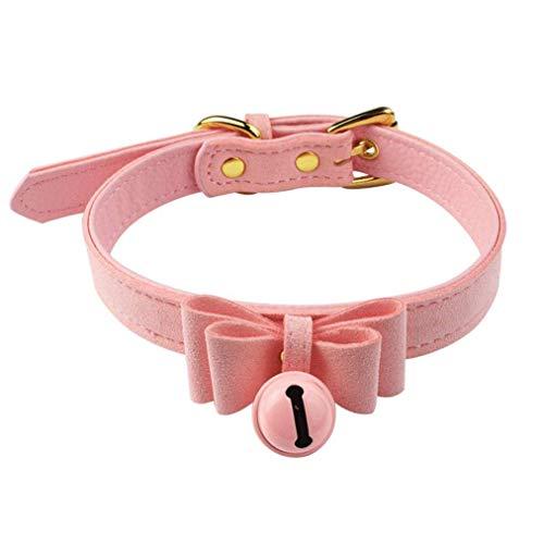 Lystaii Chokerkragen Halskette PU Leder verstellbar Lolita Bogen Kragen für Mädchen Frauen Halloween Kostüm Zubehör Haustier Hund Katze Pink (Namen Katze Halloween)
