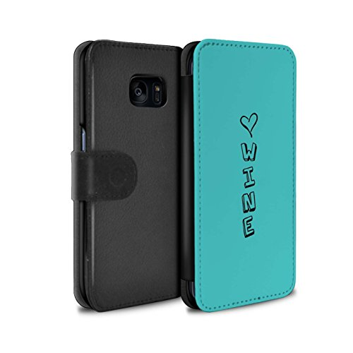 Stuff4®MR-PU Leather Case/Cover/Wallet for Samsung Galaxy S7Edge/G935/Heart XOXO Collection Bleu/Amour du Vin Luxe Hard Case