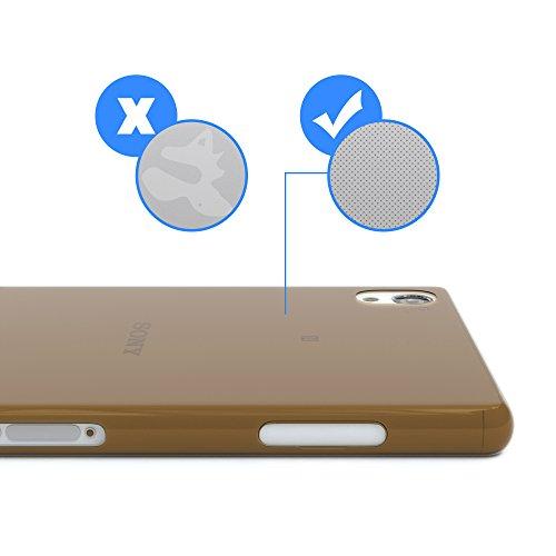 "EAZY CASE Handyhülle für Sony Xperia Z2 Hülle - Premium Handy Schutzhülle Slimcover ""Clear"" hochwertig und kratzfest - Transparentes Silikon Backcover in Gold Clear Braun"