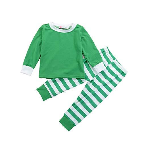Säugling Baby Jungen Mädchen Weihnachten Streifen Shirt Pyjamas Set Kleinkind Langarm Tops Hosen Nachtwäsche PJS (Für Ganze Die Familie Pjs)