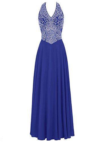 Bbonlinedress Robe de Soirée et bal emperlée col V dos nu longueur ras du sol en mousseline Bleu Saphir