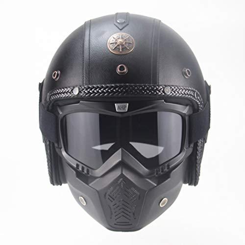 3/4 Open Face Pu Leder Harley Motorrad Helm Erwachsene Chopper Bike Vintage Motocross Helme Stoßfest Street Racing Elektrische Motorrad Sicherheitskappen -