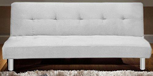 Divano letto in tessuto 3 posti reclinabile bianco design moderno casa ufficio