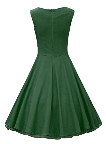 Azbro Women's Vintage Sleeveless Cocktail Swing Dress green