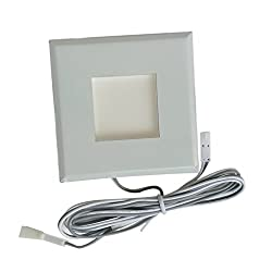 Phenovo Square Stainless Steel LED Deck Light Garden Yard Home Patio Stair Step Light Inground Wall Lamp Light 12V 0.2W - white, One Size
