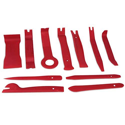 Ndier 11 PCS Panel Tool zum Entfernen Premium Auto Trim Polster Removal Kit Fastener Remover für Türverkleidung Molding Armaturenbrett Composite Installer Rot Autozubehör