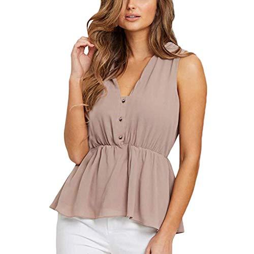 Ärmelloses Damen Freizeithemd Sexy V-Ausschnitt Button-Down Schößchen Rüschen Tanktops Sommer Solide Office Bluse