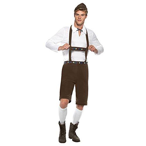 Smiffys, Herren Bayerischer Herr Kostüm, Kurze Lederhose mit Hosenträgern, Oberteil und Hut, Größe: L, 30286