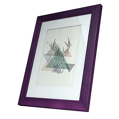 Artepoint Holz Bilderrahmen Natur mit weißem Passepartout Querformat und Hochformat zum Aufhängen Rahmen KIEFERNHOLZ Farbe: Violett - Format 30x40