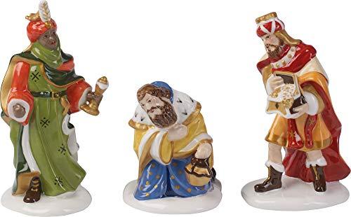 Villeroy & Boch Nativity Figuras de belén Reyes Magos, Set de 3 Piezas, Porcelana, Verde/Azul/Rojo
