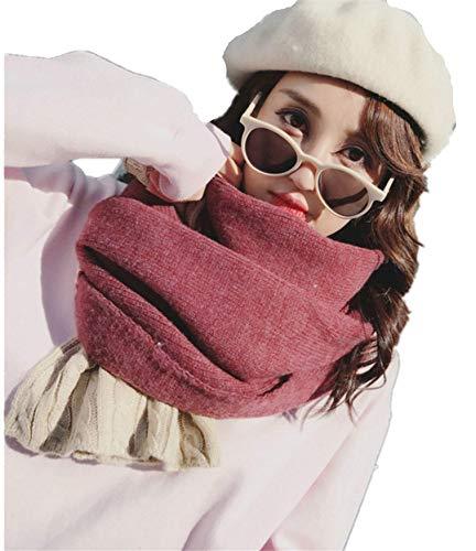 Kwelt Damen Winter Schal Zweifarbig Gestrickt Poncho Karo Halstuch Cape Scarf Blogger Herbst weich
