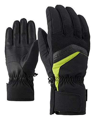 Ziener Herren GABINO glove ski alpine Ski-handschuhe, schwarz (black/lime green), 7.5