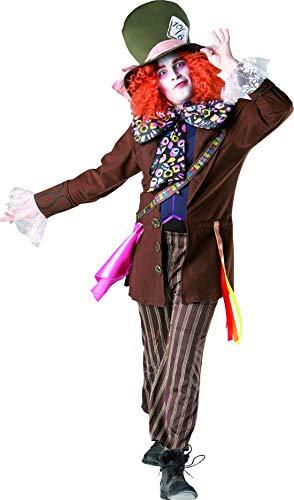 Luxuspiraten - Herren Frauen opulentes Hutmacher Mad Hatter Kostüm im Alice im Wunderland Stil incl Perücke und Hut, perfekt für Karneval, Fasching und Fastnacht, XL, Braun