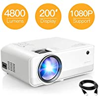 "Projector APEMAN 4800 Lumen Mini Portable Projector 1280*720P LED Projector 200"" LCD Home Cinema Projector Support 1080P HDMI/VGA/AV/USB/Micro SD/TV Stick for Home Entertainment"