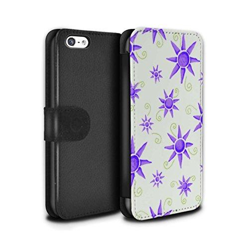 Stuff4 Coque/Etui/Housse Cuir PU Case/Cover pour Apple iPhone 5C / Noir/Blanc Design / Motif Soleil Collection Violet/Blanc