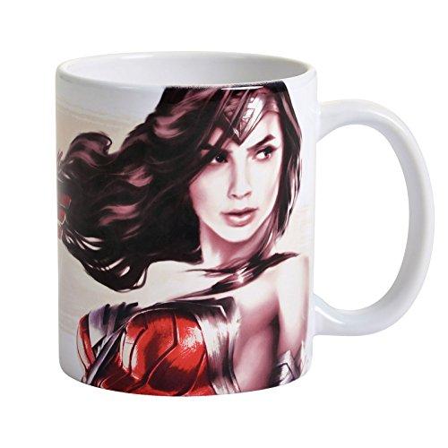 Elbenwald Wonder Woman Logo Tasse Diana Prince de DC Comics Rouge en céramique Blanche