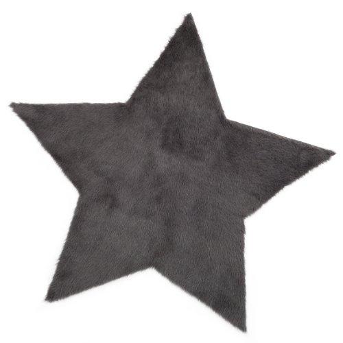 Pilepoil  - Alfombra infantil, diseño de estrella, color gris oscuro 140 x 140 cm - piel artificial - Fabricado en Francia