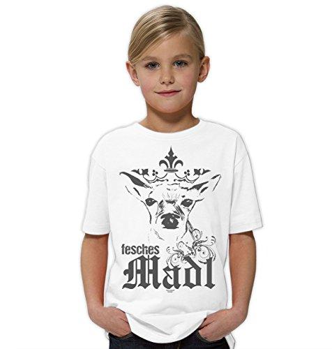 Kinder Mädchen Girlie Kurzarm Trachten T-Shirt Outfit zum Volksfest Oktoberfest Wiesn :-: Geburtstagsgeschenk Kids :-: Fesches MADL Farbe: Weiss Gr: 134/146