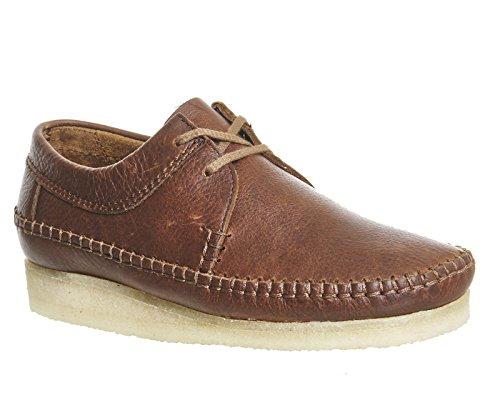 Clarks Herren Braun Weaver Leder Schuhe Braun