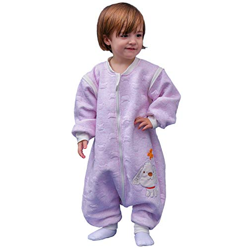 Schläfsack baby langarm winter kinderSchlafsack,Hund Muster Baby Schlafsack mit Füßen Baumwolle Junge Mädchen unisex ganzjahres Schlafanzug. ((M:90cm 1-3Jahre), Rosa)