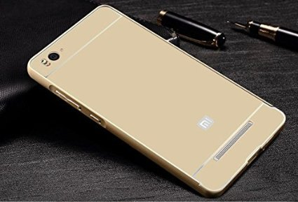 AE MOBILE ACCESSORIES AE Latest New Luxury Design High Quality Acrylic Back Metal Frame Bumper Case Cover For Xiaomi Mi 4i with Front Screen Guard by Case Trendz -- golden