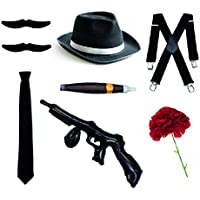 Bodysocks Fancy Dress Gangster Set – Trilby sombrero, corbata, tirantes, cigarro, bigotes y clavel (negro)