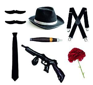 Bodysocks Fancy Dress Gangster Set - Trilby sombrero, corbata, tirantes, cigarro, bigotes y clavel (negro)