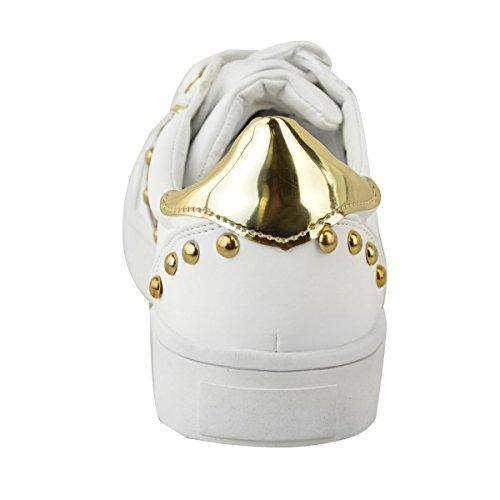 donna borchiato Basse PATTINATORI Scarpe sportive palestra sport Décolleté sneakers taglia Bianco Similpelle