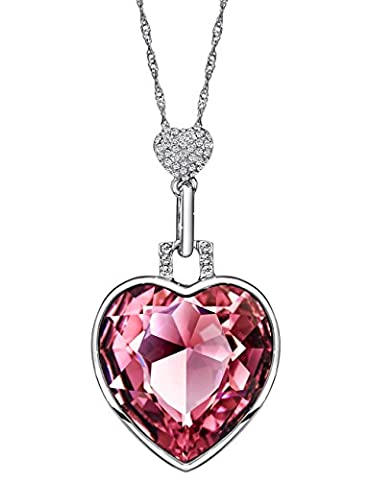 Neoglory Jewellery Made with SWAROVSKI Elements Pink Crystal Pendant Necklace Love Heart Shape for Women