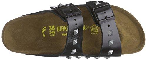Birkenstock Arizona Leder Unisex-Erwachsene Pantoletten Schwarz (Studded Schwarz)