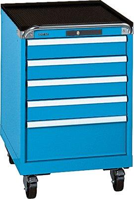 Preisvergleich Produktbild LISTA Schubladenschrank, Traglast/Schubl. 75 kg, fahrbar, 5 Schubladen: 4x100,200 mm, Zylinderschloss, BxTxH 564x572x890 mm, RAL 5012 lichtblau