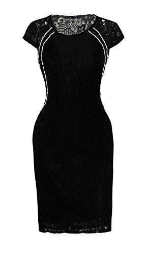 Mesdames Robes Moulante Mi Longues Sans Manche Dentelle Vintage D'Été Robes Habillées Robes De Soirée Noir
