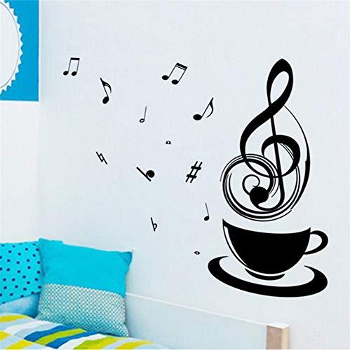 Cmhai Kreative Kaffee Musical Notes Schwarz Wandaufkleber Wohnkultur Schlafzimmer Büro Arbeitszimmer Vinyl Aufkleber Diy Wandbild Art28 * 57 Cm