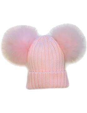 CAPPELLO PON PON DOPPIO STACCABILE VERA PELLICCIA ROSA PINK 1-4 ANNI BIMBA CAPPELLINO CUFFIA Hat Fur Baby Kids...